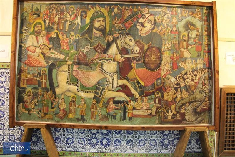 بازخوانی تصاویر تابلوی نقاشی قهوه خانه ای موزه گرمابه حضرت در سمنان